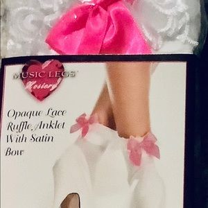 Leg Avenue Accessories - Opaque Ankle High Socks Bows White Hot Pink